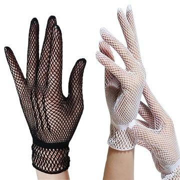Rękawiczki ażurowe, koronkowe, damskie, krótkie