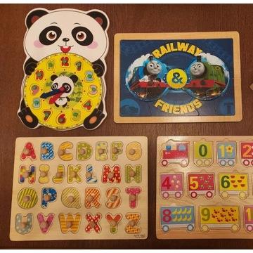 Zestaw puzzli dla dzieci układanki 4 szt drewno