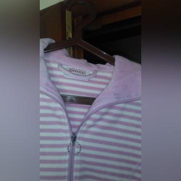 bluza welurowa damska w biało różowe paski r.44/46