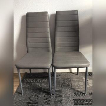 krzesło metalowe z obiciem z eko skóry szare