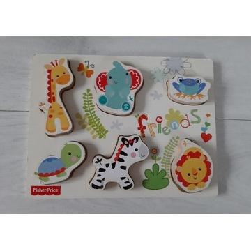 Fisher Price, drewniane puzzle,zwierzęta, tablica