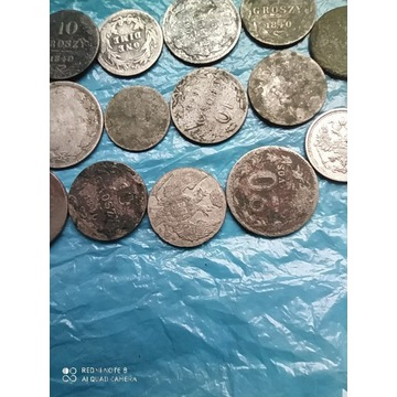 Wykopki stare monety 14 sztuk srebro