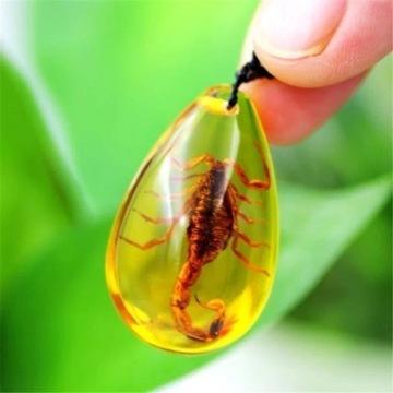 Naszyjnik skorpion uwieczniony w żywicy licytacja