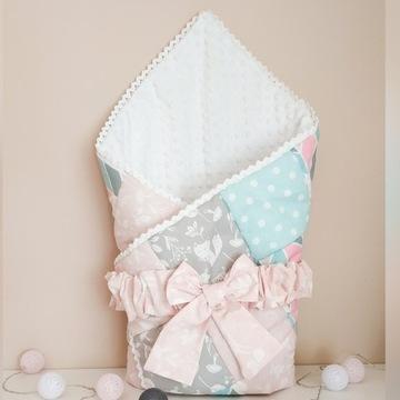 Rożek niemowlęcy patchwork dla dziewczynki minky