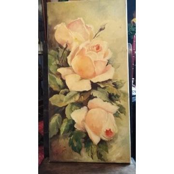 Róże,obraz olejny z 2007r