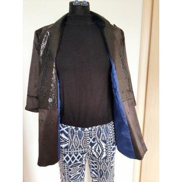 Żakiet 38 + wzorzyste spodnie + bluzka z koronką