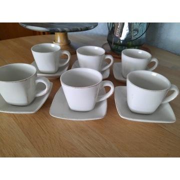 6 Filiżanek do herbaty 220 ml ze złoceniami+spodki