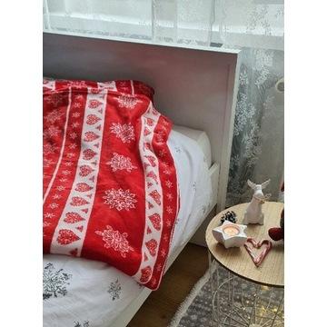 Koc świąteczny śnieżynki czerwony 150x200 + Gratis