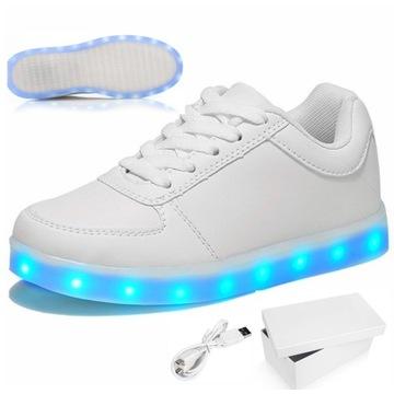 BUTY LED ŚWIECĄCE BIAŁE NISKIE SPORTOWE USB 33-41