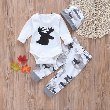 Komplet niemowlęcy body spodenki czapka r70,80,90,