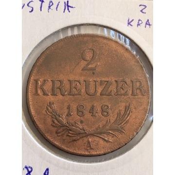 Austria 2 Krajcary 1848 A