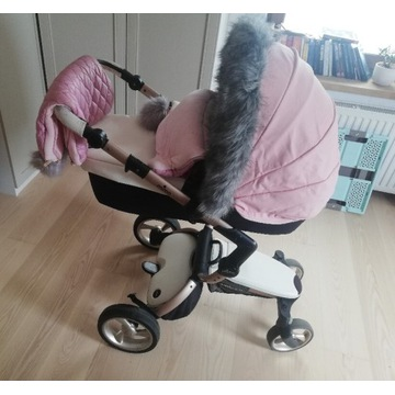 Wózek mima xari snow white z rama Rose Gold 3w1