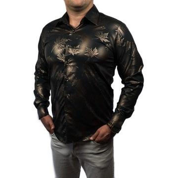 HIT! Koszula elegancka złoty wzór  SLIM FIT 2020 M