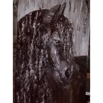 """Duży obraz olejny """"Czarny koń""""  40/80cm"""