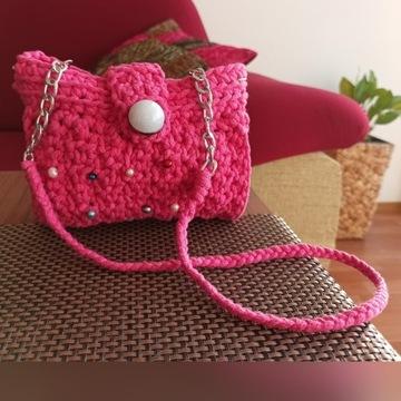 Amarantowa torebka dla dziewczynki z perełkami