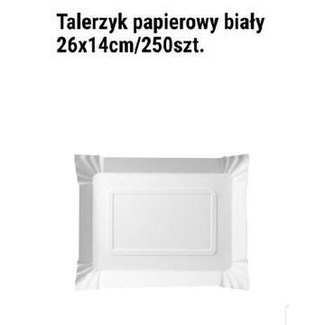 Talerzyk papierowy biały prostokątny26×14CM,250SZT