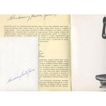 Janos Andrass Kurt autograf rzeźbiarza z 1966r