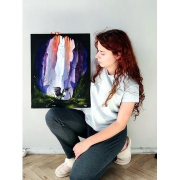 "Obraz akrylowy. ,,Samotny Gryf"" ~Talegirl. Płótno"