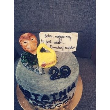 Janusz małpa nosacz na tort z masy cukrowej