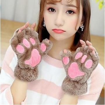 Słodkie puszyste łapy kota, kolor Khaki