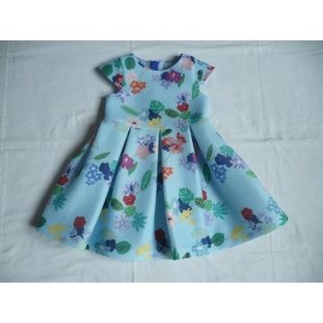 _Piękna Sukienka Wizytowa Kwiaty roz.92/98_2/3lat_