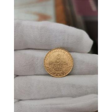 Złota moneta 5 pesos 1930 UNIKAT!!!