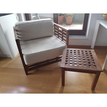 Meble ogrodowe,naturalne drewno, 2x fotel + stolik