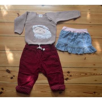 Zestaw: spodnie, sweterek, spódniczka, roz. 80/74