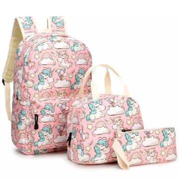 ZESTAW 3 części plecaczek torebka piórnik unicorn