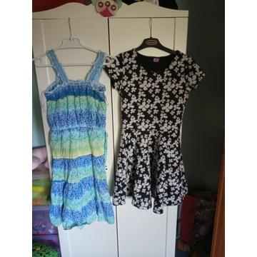 Letnie sukienki 10 sztuk rozm. 152, 34 i 36