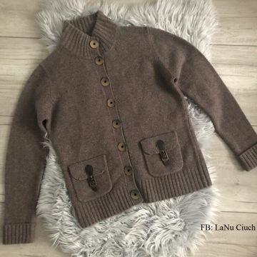 Sweter Vintage w jasnym brązie Wełna