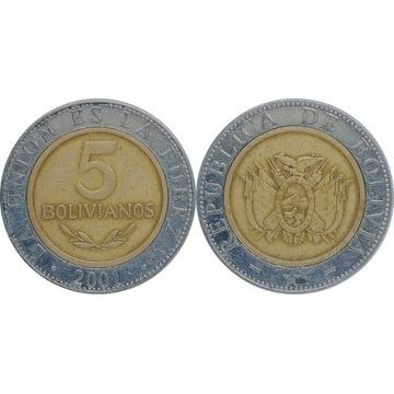 Boliwia 5 bolivianos 2001, KM#212
