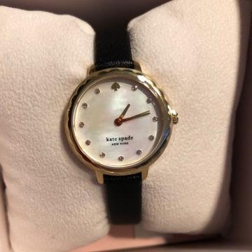 Zegarek kate spade złoty skórzany perłowy