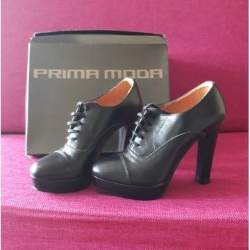 Czarne obcasy platformy szpilki Prima Moda 37