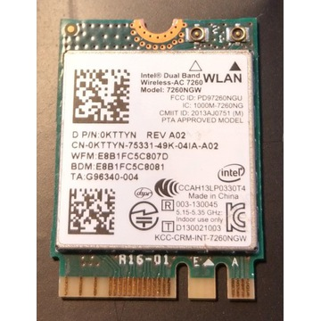 Karta WIFI Intel Wireless 7260NGW 0KTTYN r.A02