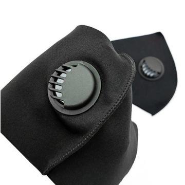 Maska ochronna na twarz czarna wielorazowa z filtr