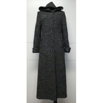 Płaszcz wełniany zimowy długi z kapturem r. 36