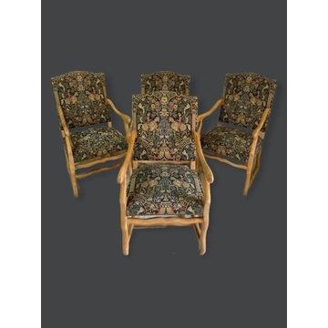 4 eleganckie, gobelinowe fotele Francja Ludwik XIV