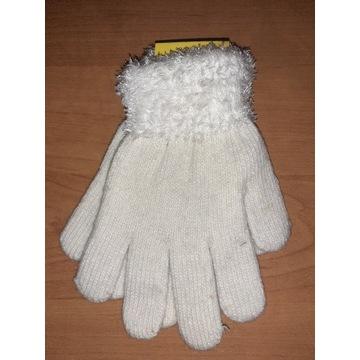 Nowe rękawiczki dziecięce 15cm białe dziewczynki