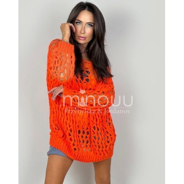 Minouu sweter ażurowy  Sofia Rosso pomarańczowy