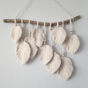 Makrama liście łapacz snów dekoracja pióra boho