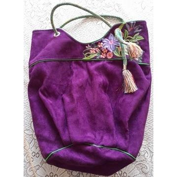 torba worek, torebka na ramię, boho, etno, fiolet