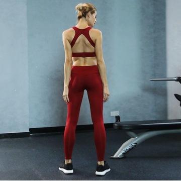 Zestaw na siłownię bezszwowy top + legginsy L-XL