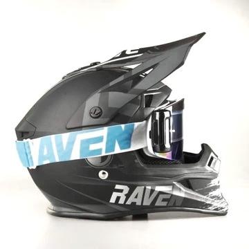 Gogle Cross Motocyklowe UV lustrzane Raven Enduro