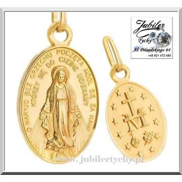 Złoty cudowny medalik Matka Boża Boska Niepokalana