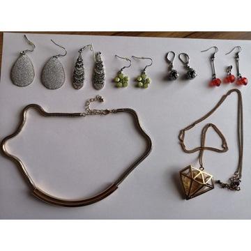 Biżuteria mega paka kolczyki,naszyjniki sreb złote