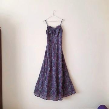 Wzorzysta fioletowa sukienka maxi boho Reserved S