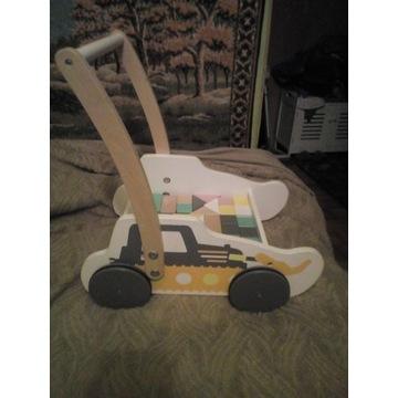 Wózek z klockami pchacz drewniany