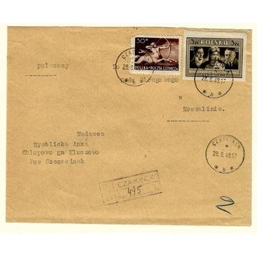 Koperta z 1948r ze znaczkiem nr 446 i 432