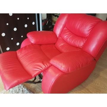 Fotel rozkładany, bujany, skóra naturalna
